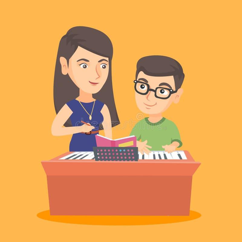 有的小男孩与老师的一堂钢琴课 库存例证