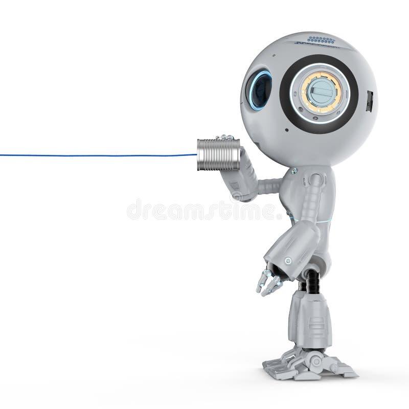 有的机器人锡罐打电话 皇族释放例证