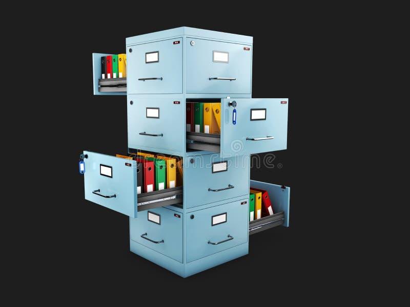 有的档案橱柜在的文件夹开放抽屉, 3d例证 向量例证