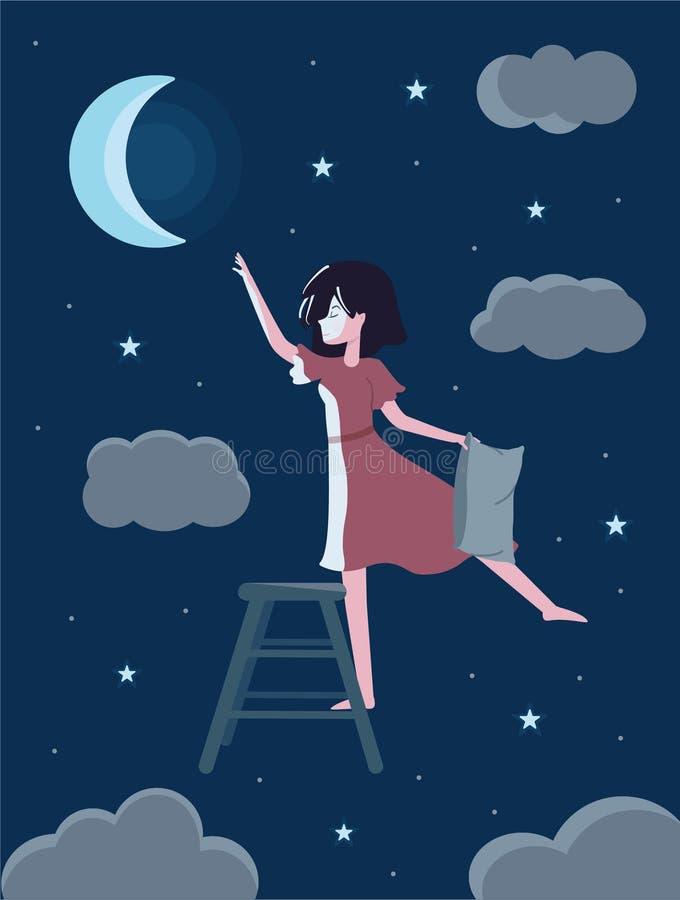 有的浪漫逗人喜爱的女孩梦想月亮 皇族释放例证