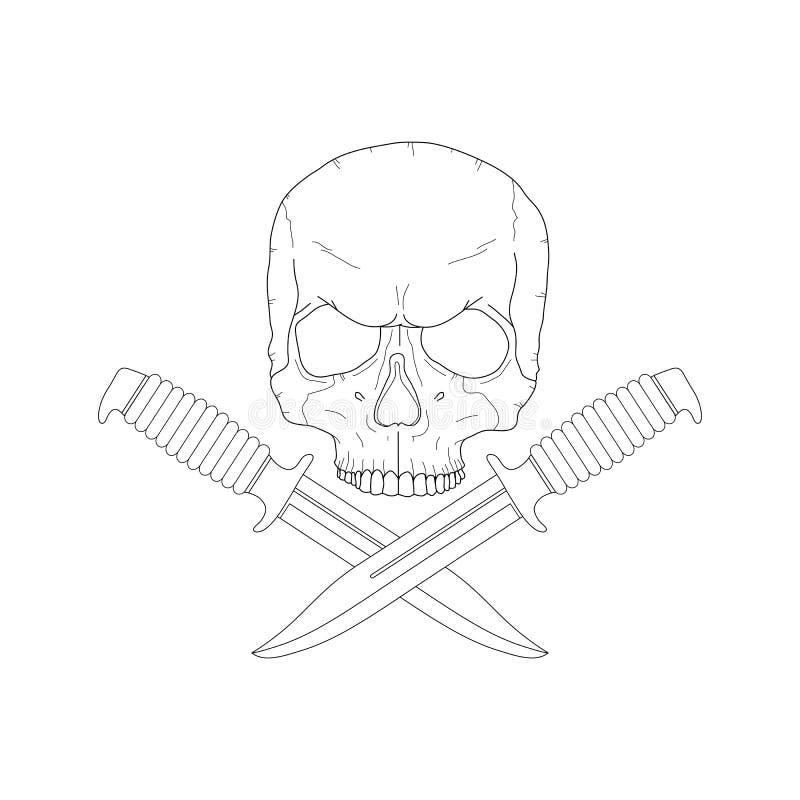 有的海盗头骨刀子 向量例证