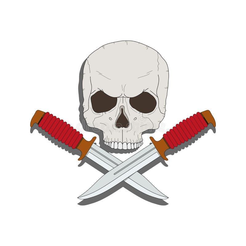 有的海盗头骨刀子 皇族释放例证