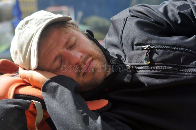 有的登山人休息 图库摄影