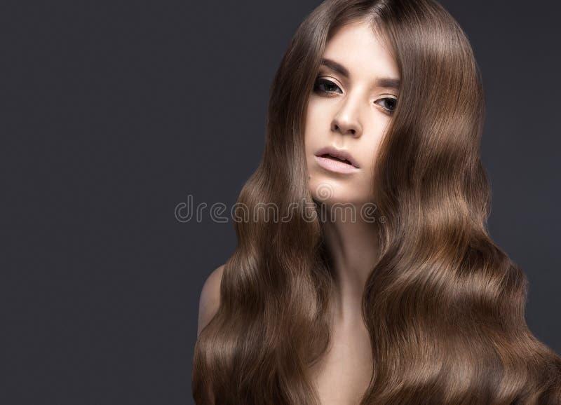 有的美丽的深色的女孩完全卷曲头发和经典构成 秀丽表面 库存图片