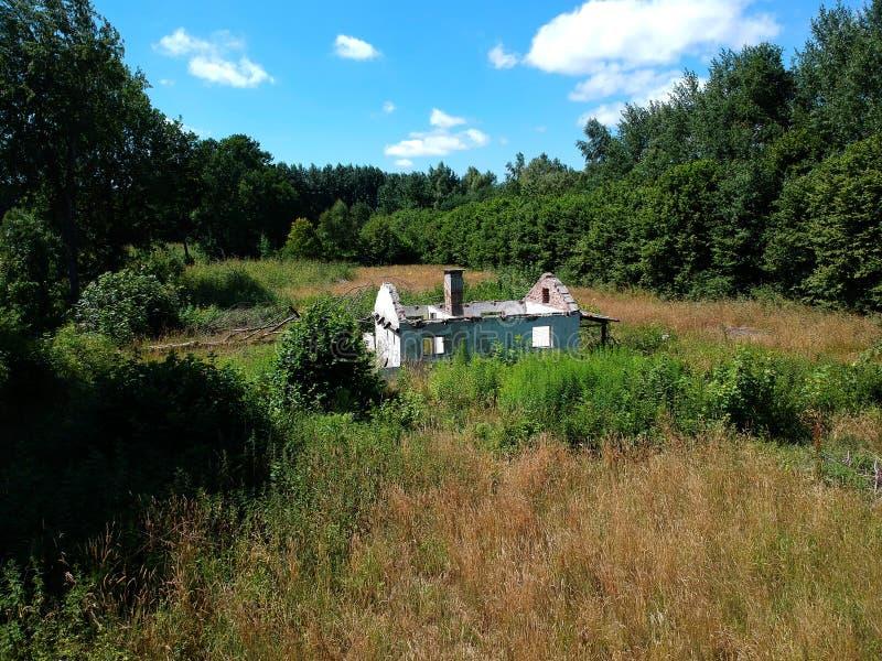 有的老被破坏的房子在草甸,森林,灌木,鸟瞰图中间顶房顶 库存照片