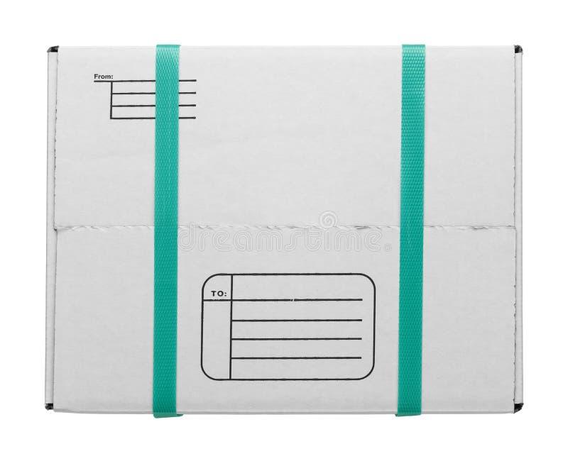 有皮带的白色箱子 图库摄影