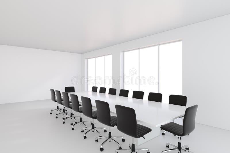 有皮椅和桌的空的白色大候选会议地点 3d翻译 皇族释放例证