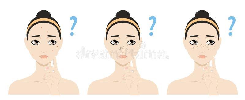 有皮肤问题的动画片女孩 向量例证