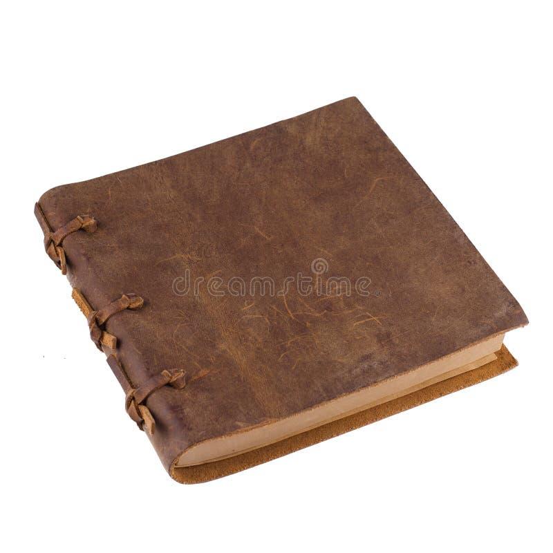 有皮革褐色的闭合的笔记本 免版税图库摄影
