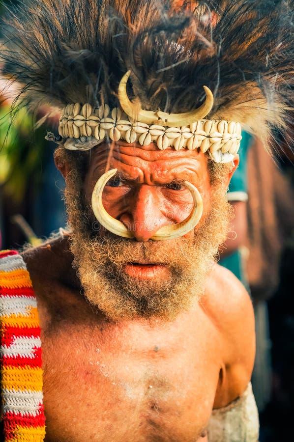 有皱痕的人在巴布亚新几内亚 图库摄影