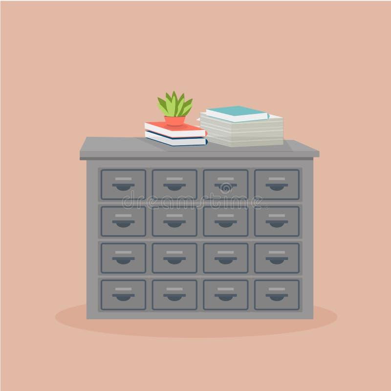 有盆的植物的金属档案橱柜 向量例证
