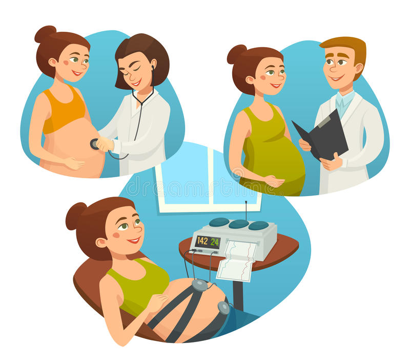 有监视医生的,怀孕,传染媒介动画片例证产前孕妇  皇族释放例证