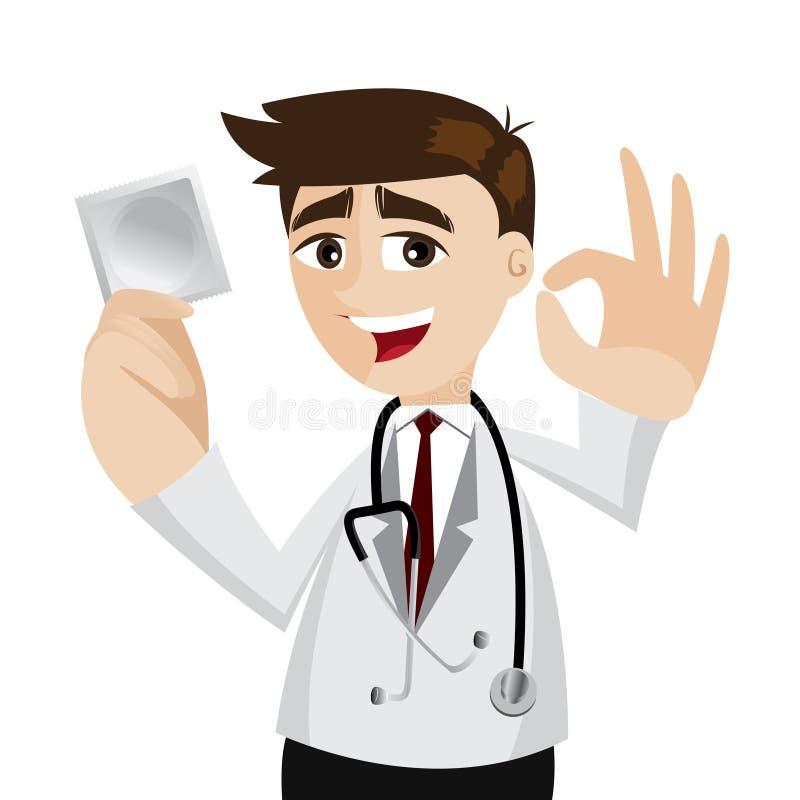 有盒的动画片医生避孕套 库存例证