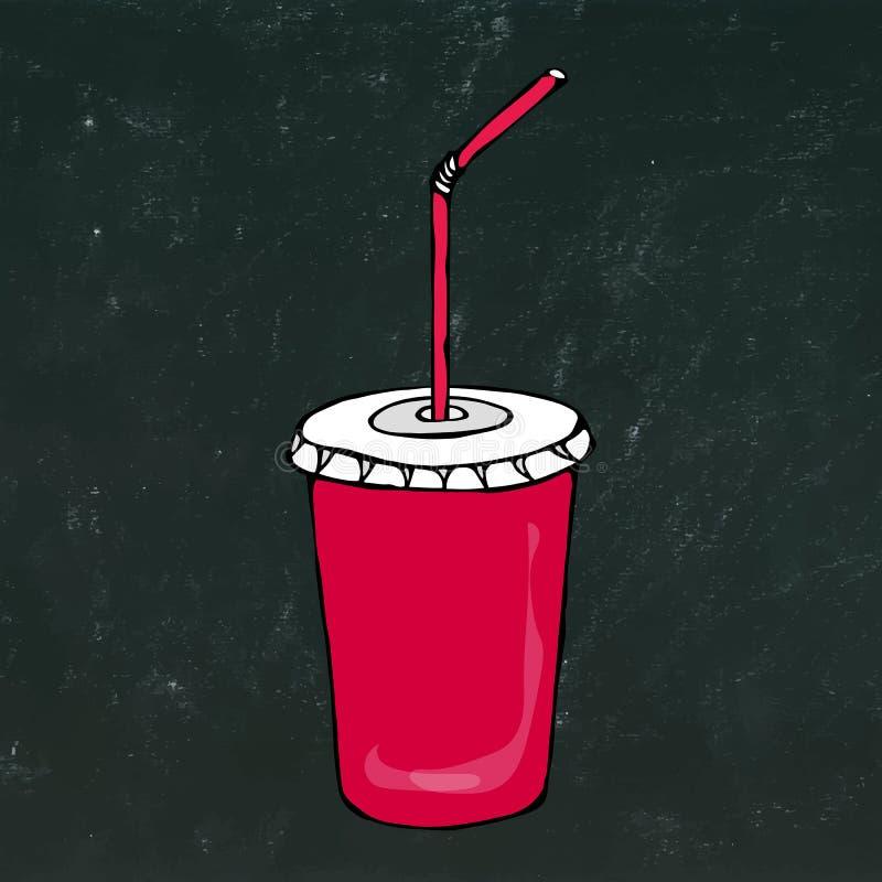 有盒盖和秸杆的,饮料饭菜外卖点的玻璃红色纸杯 现实手拉的乱画样式剪影 向量 库存例证