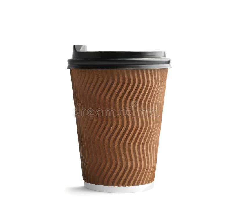 有盒盖的外带的纸咖啡杯在白色背景 图库摄影