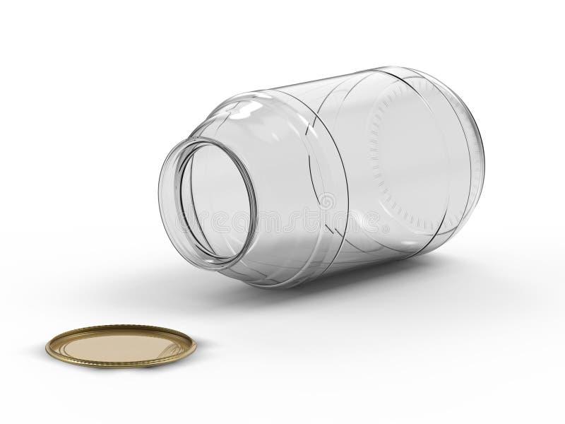 有盒盖的玻璃瓶子水平地说谎, 3D翻译 库存图片