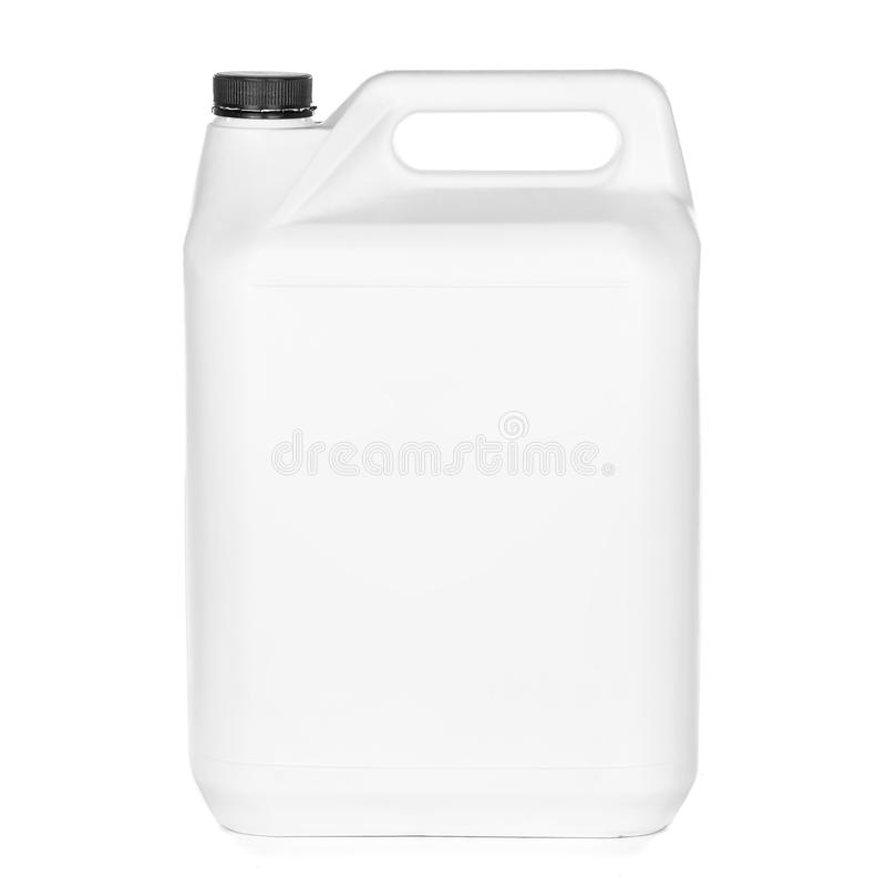 有盒盖的白色塑料桶在白色背景 免版税库存图片