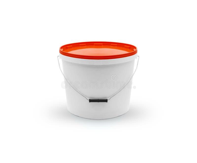 有盒盖的白色塑料桶 免版税图库摄影