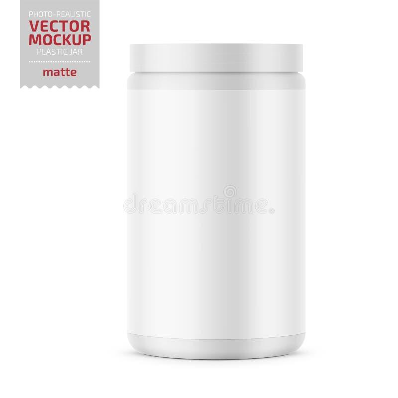 有盒盖的白色表面无光泽的塑料瓶子粉末的 皇族释放例证
