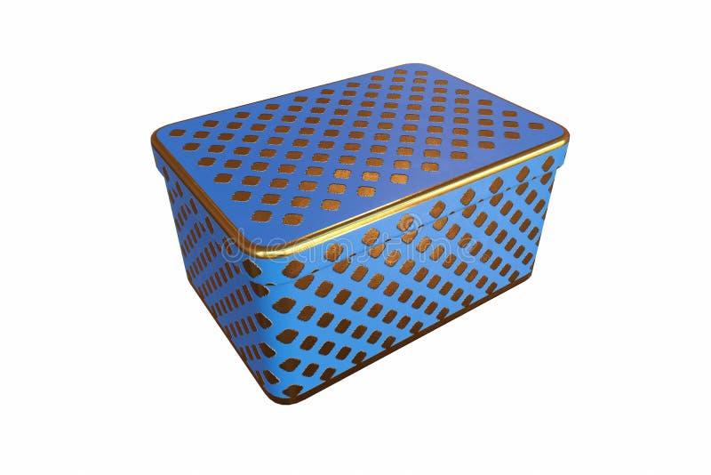有盒盖的空的金属箱子,隔绝在白色背景, 3D翻译 库存例证