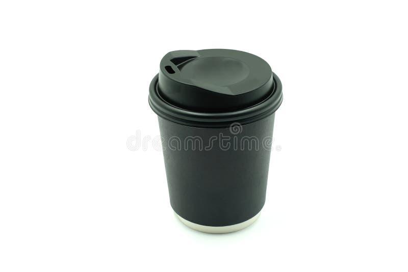 有盒盖的黑纸咖啡杯在白色背景 库存照片