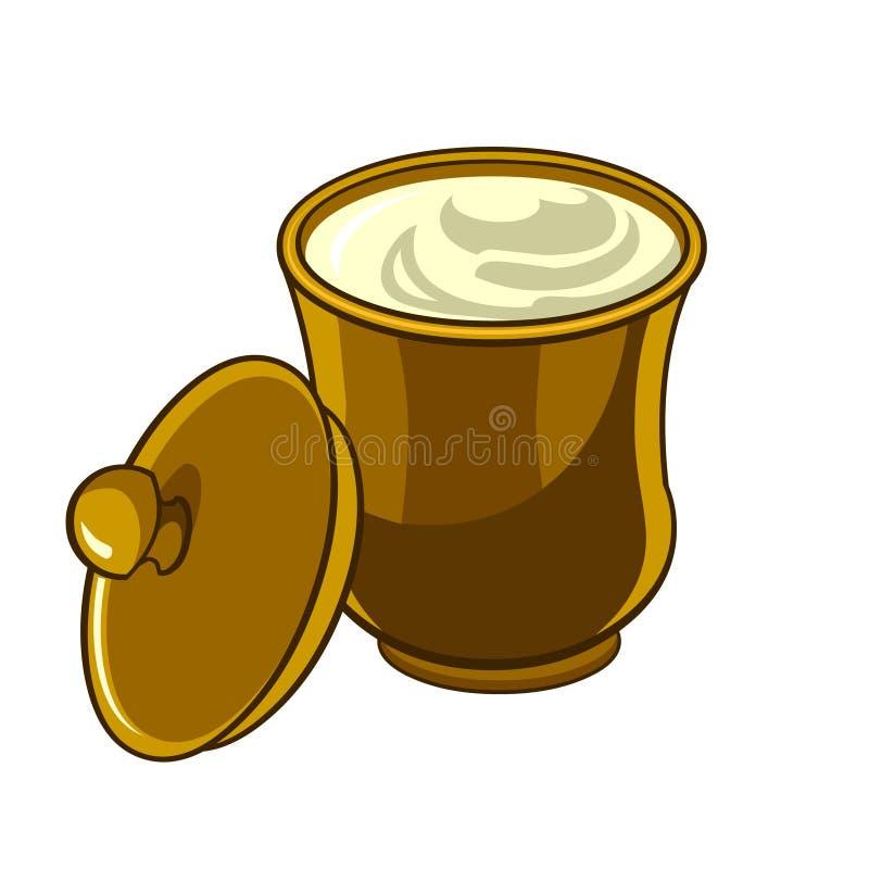有盒盖的水罐有酸性稀奶油的 向量例证