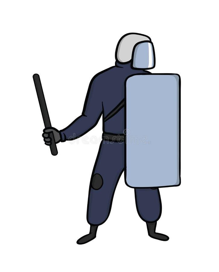 有盔甲、盾和警棒的警察在街道上抗议 向量例证,查出在白色 库存例证