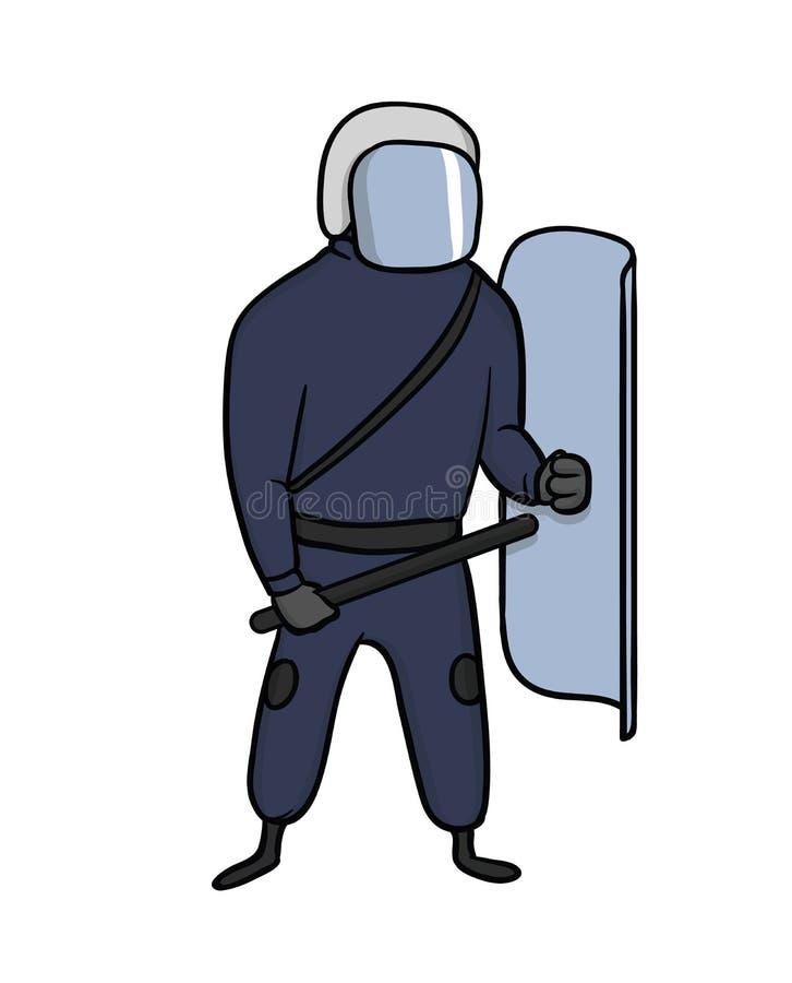 有盔甲、盾和警棒的警察在街道上抗议 向量例证,查出在白色 向量例证