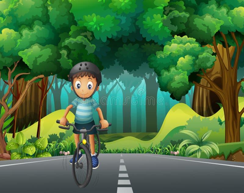 有盔甲骑马自行车的男孩在路 皇族释放例证