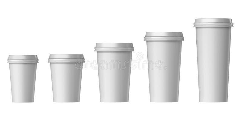 有盖子的空白的一次性杯子,额外,小,中等,大 向量例证