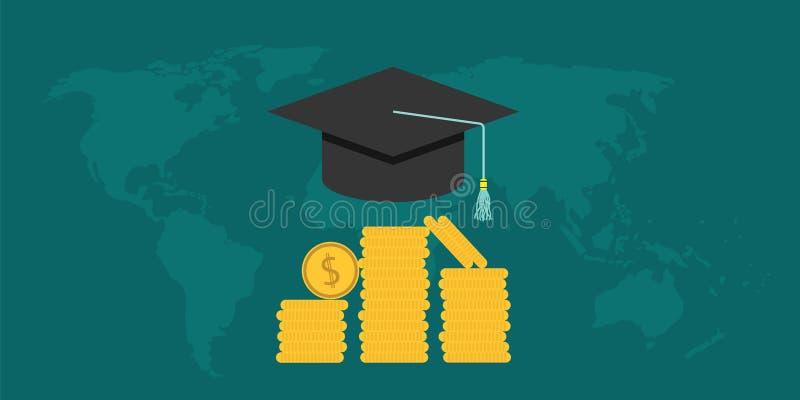 有盖帽和金钱硬币的奖学金学院 向量例证