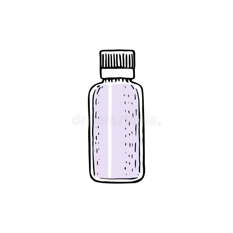 有盖帽的,与浪花,分配器,吸管,瓶子,管的空的容器模板小玻璃瓶小瓶 库存例证