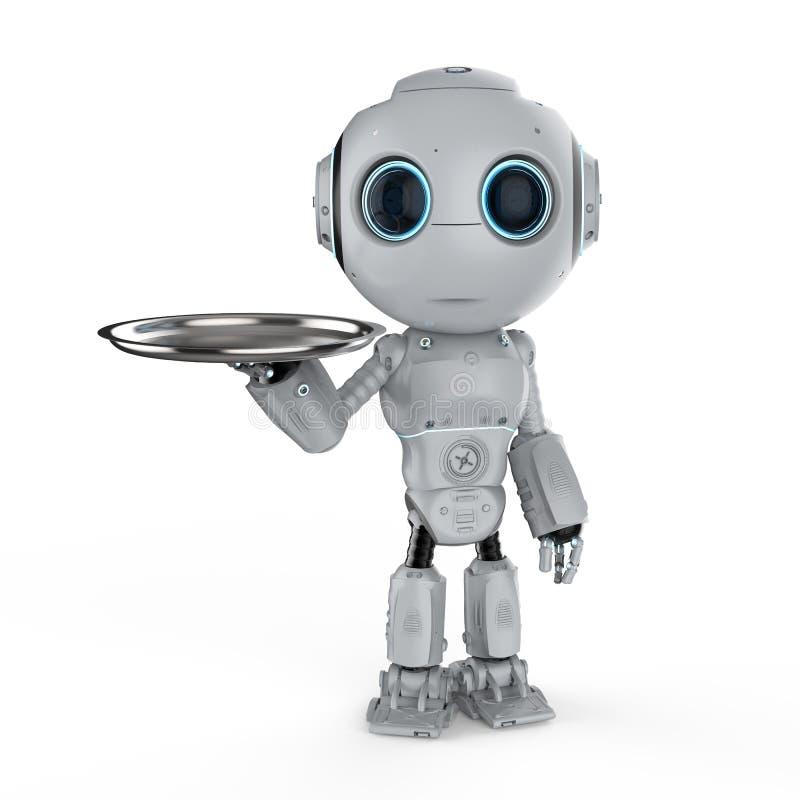 有盘子的机器人 皇族释放例证