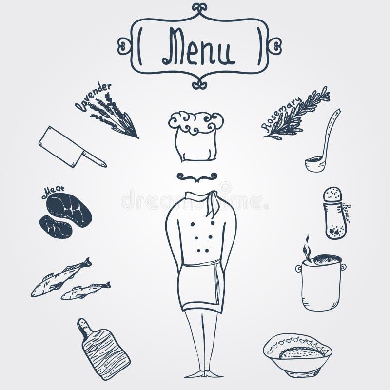 有盘的传染媒介手拉的时髦的厨师和 皇族释放例证