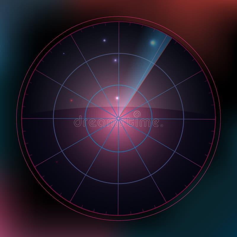 有目标的色的雷达显示器在过程,动态例证中 雷达显示器概念设计  向量 库存例证