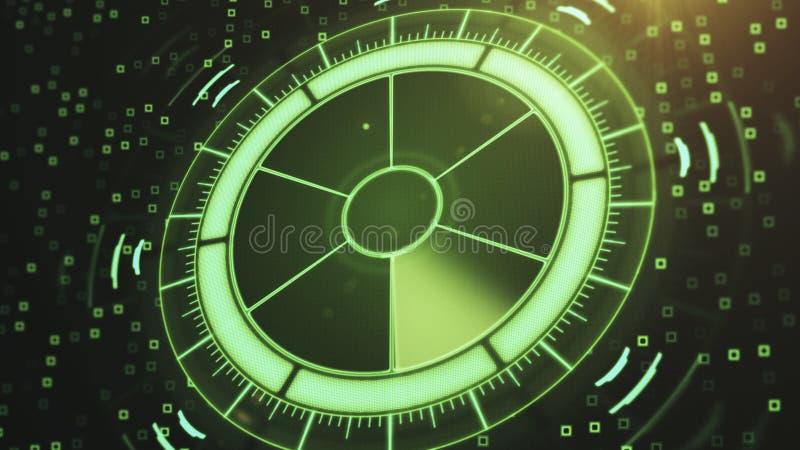 有目标的雷达在地图 未来派用户界面 HUD 向量例证