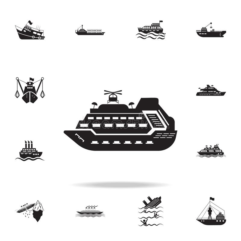 有直升机象的兆游艇 详细的套船象 优质图形设计 其中一个网站的汇集象, 向量例证