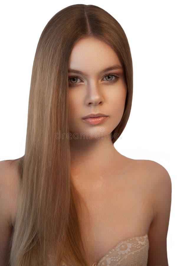 有相当长的头发的少妇 免版税库存图片