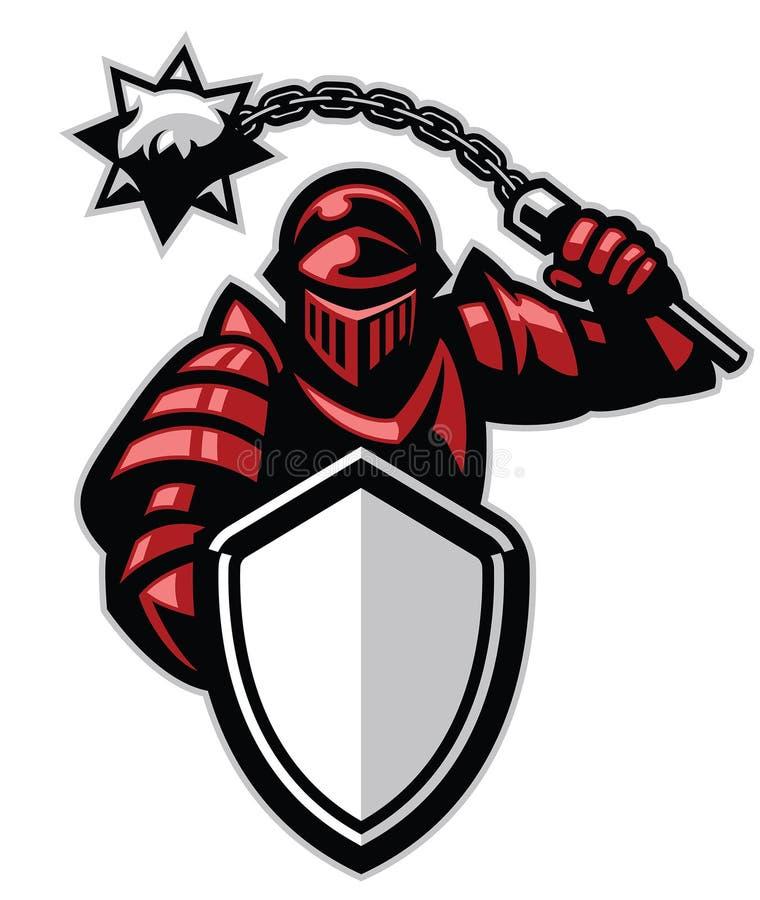 有盾和尖刻的球武器的骑士 库存例证