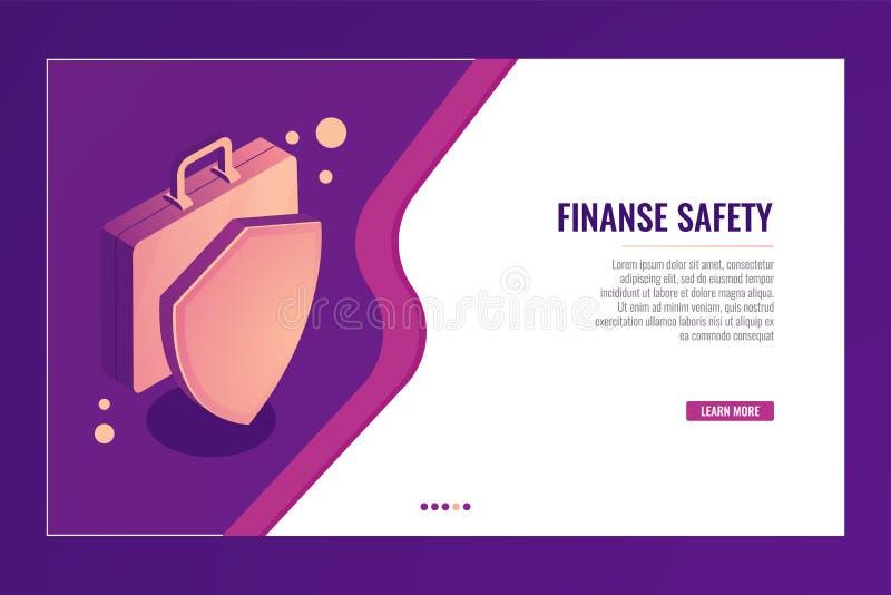 有盾的手提箱,企业保护和安全,财务保险,金钱等量投资的概念 库存例证