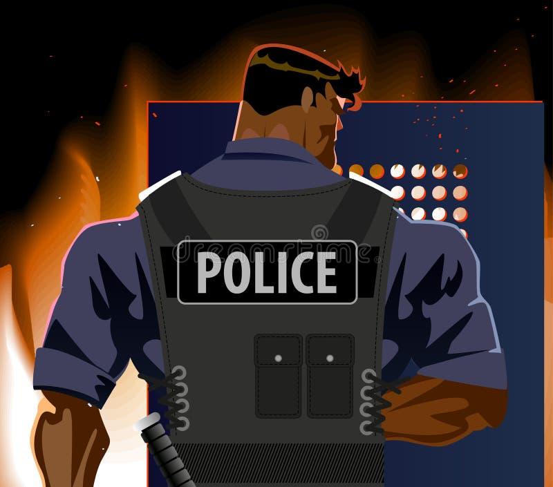 有盾的警察 暴乱,火,恐怖主义 向量例证