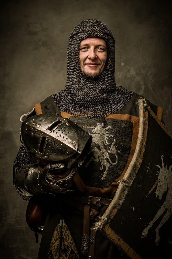 有盾的骑士 免版税库存图片
