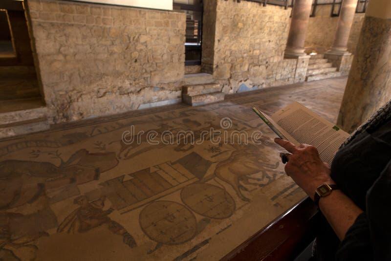 有看在别墅罗马纳del卡萨莱,皮亚扎阿尔梅里纳的地图的游人马赛克 免版税库存图片