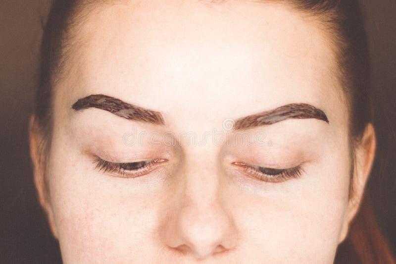 有眼眉构成的年轻女人 库存图片