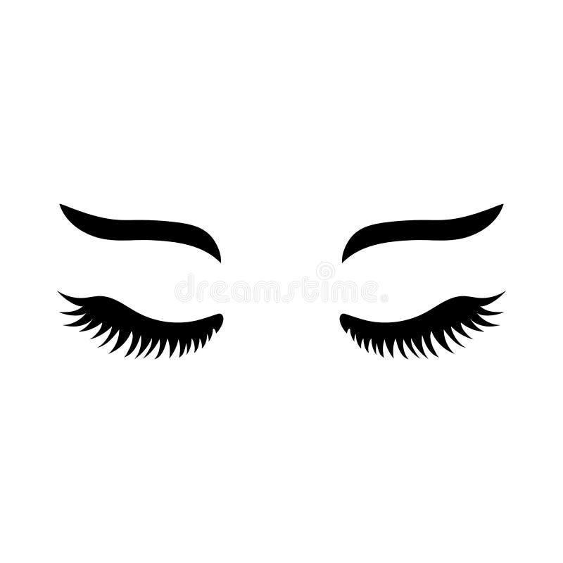 有眼眉的传染媒介睫毛 抨击象 接近的眼睛 向量例证