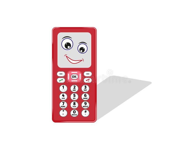 有眼睛和微笑的可笑的电话 库存例证