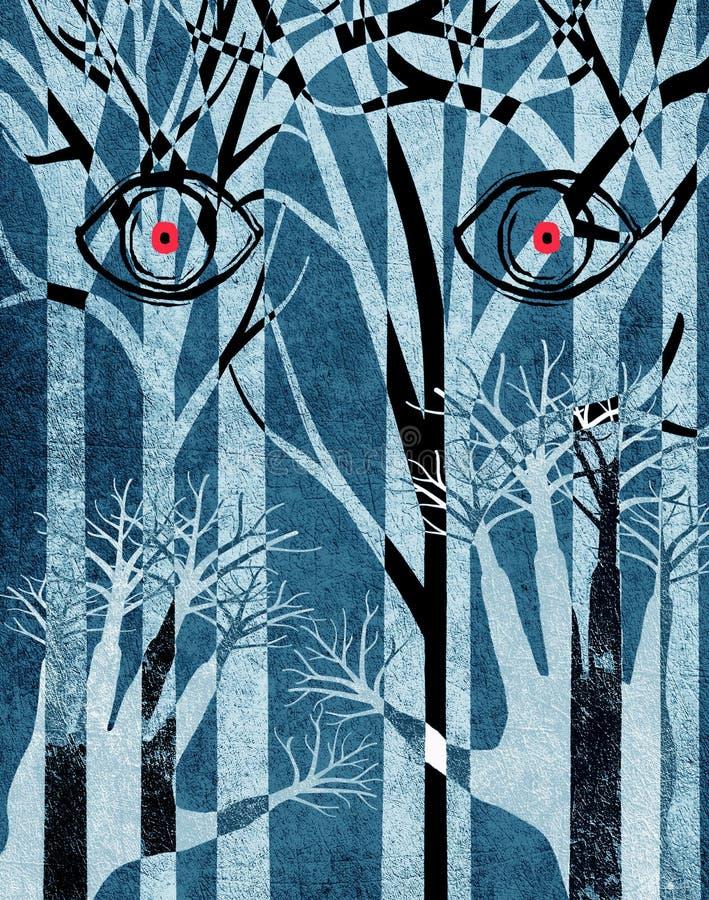 有眼睛和手的蓝色森林 向量例证