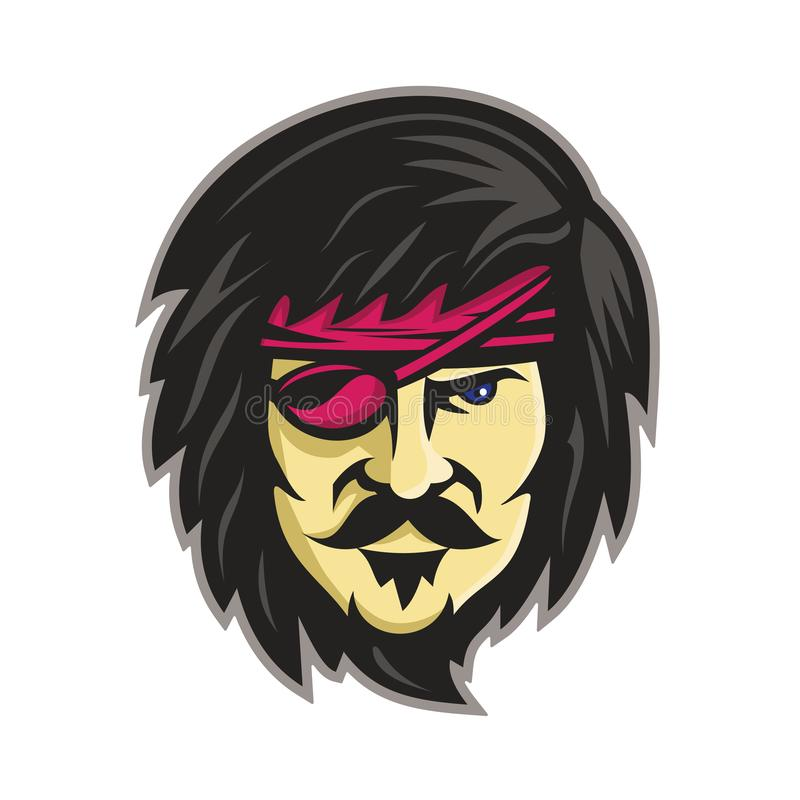 有眼睛补丁吉祥人的海盗 皇族释放例证