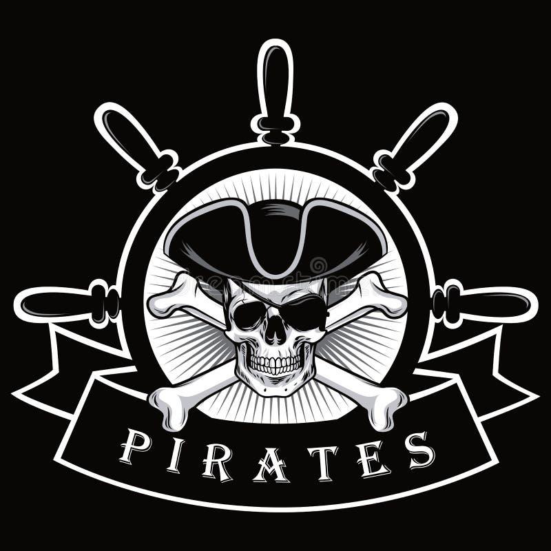 有眼罩和船舵商标黑色背景传染媒介例证的海盗头骨 皇族释放例证