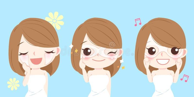 有眼罩的妇女 向量例证